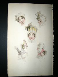 Ackermann 1814 Hand Col Regency Fashion Print. Head Dresses 12-29